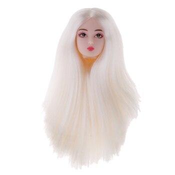 1/6 figuras de acción femenina BJD cabeza esculpir el cabello blanco acción figura cabeza peluca DIY personalizado para DOD SD DD piezas personalizadas accesorio de pelo