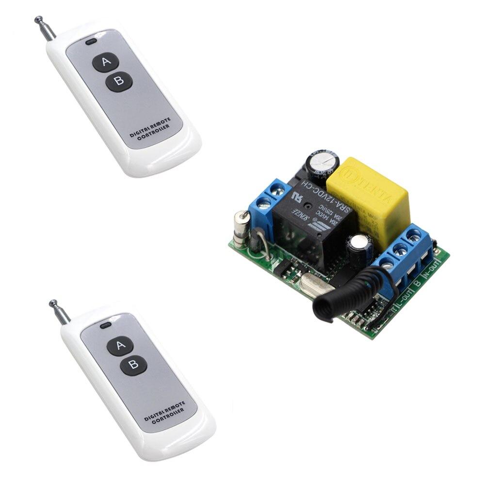 Новый Тип Вход Выход 220 В rf Беспроводной Дистанционное управление выключатель света Одно реле с две кнопки приемник передатчик 315 мГц 433 мГц ...