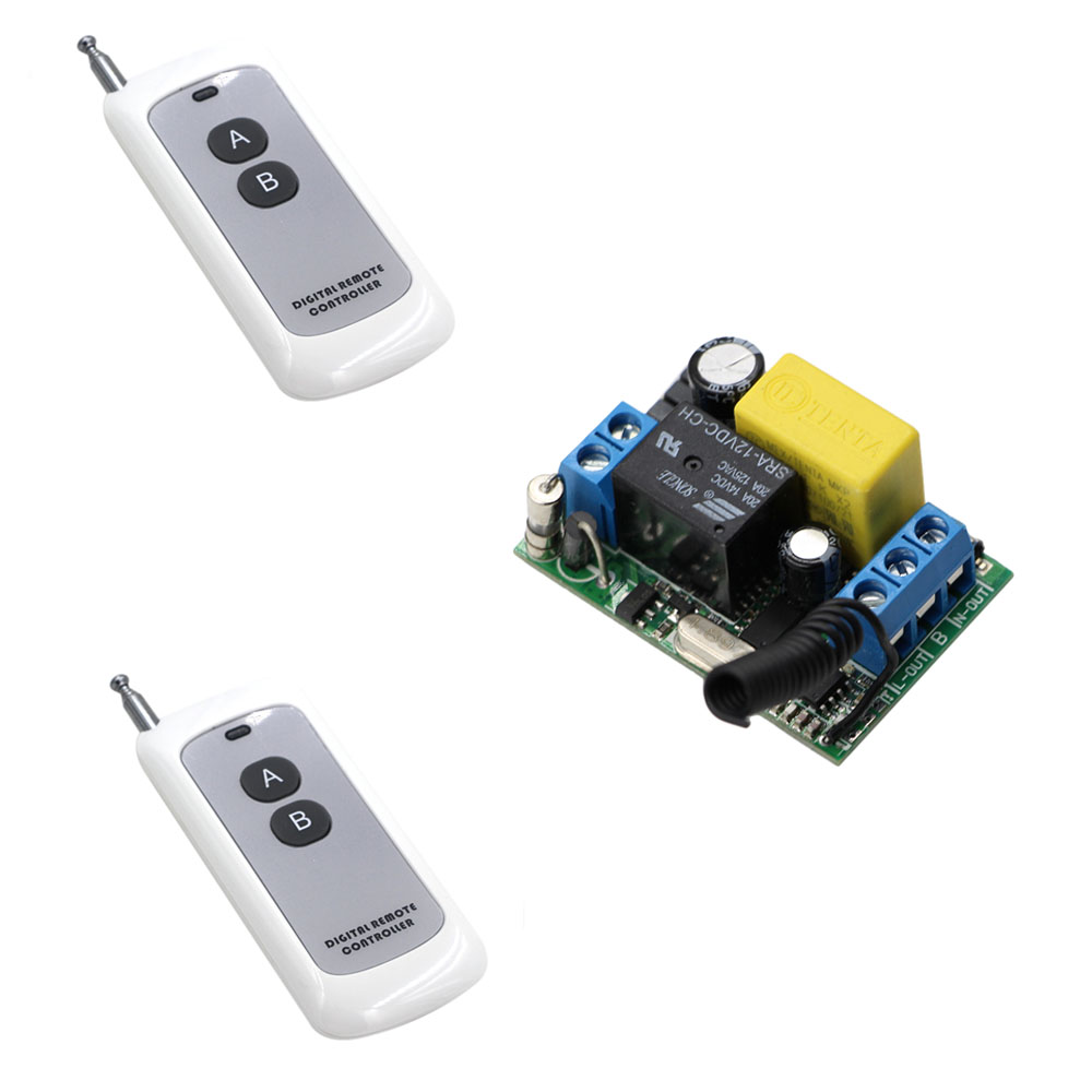 New Type Input Output 220V RF Wireless Remote Control Light Switch One Relay With Two Button Transmitter Receiver 315Mhz 433Mhz m3 m4 5a m3 touch rf remote with m4 5a cv receiver led dimmer controller dc5v dc24v input 5a 4ch max 20a output