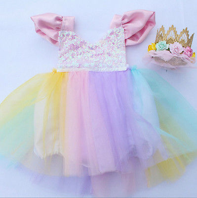 Newborn Kids Baby Girls Pink Romper Party Lace Tutu Dress Clothes Outfits 0-3Y