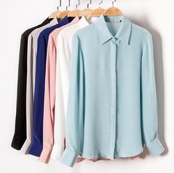 Однотонная Базовая рубашка с воротником из 100% чистого шелка, L XL 2XL YS001