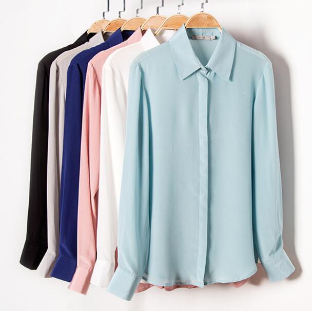 جودة 100% الحرير الخالص الصلبة اللون الأساسي طوق قميص بلوزة L XL 2XL YS001-في بلوزات وقمصان من ملابس نسائية على  مجموعة 1