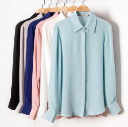 Quality 100% Pure Silk Solid Basic Color Collar Shirt Top Blouse L XL 2XL YS001