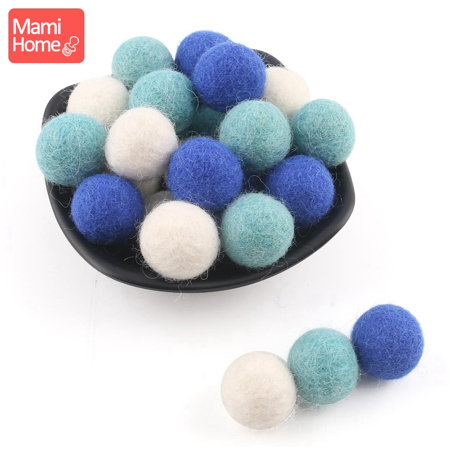 10pc 2cm Chew Toys Wool Balls Decor Baby Room Felt Wool Beads DIY Bracelet Accessories Handmade Baby Nurse Gifts Christmas Gift