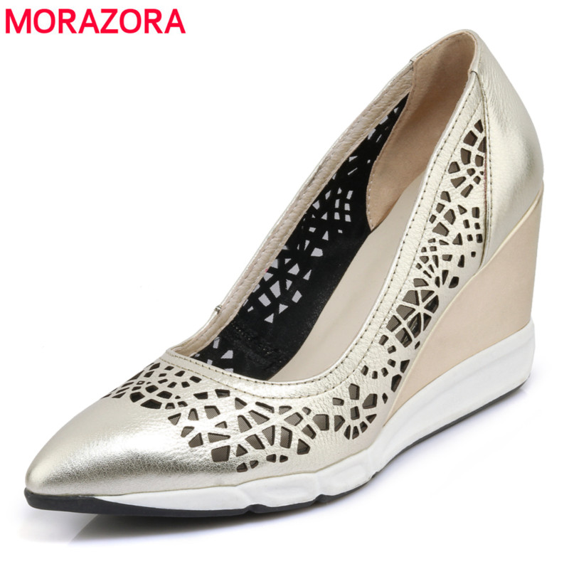 MORAZORA 2018 new arrival genuine leather shoes woman sheepskin wedges pumps women shoes cut outs ladies high heels party shoes ladies casual platform wedges oxford shoes for women metallic pu cut outs women high heels summer brogue oxfords shoes woman