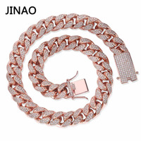 JINAO 14mm Iced Out Chain Zircon Miami Men Cuban Link Necklace Copper Choker Bling Hip Hop Jewelry Gold Silver Rosegold 16 30''