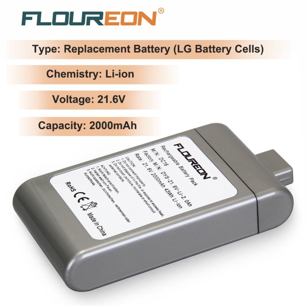 Floureon For Dyson Dc16 2000mah 21 6v Rechargeable Battery