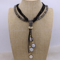 Natural Labradorite Stone Necklace With Pearl Pendants Necklace Natural Stone Gems For Women 1892