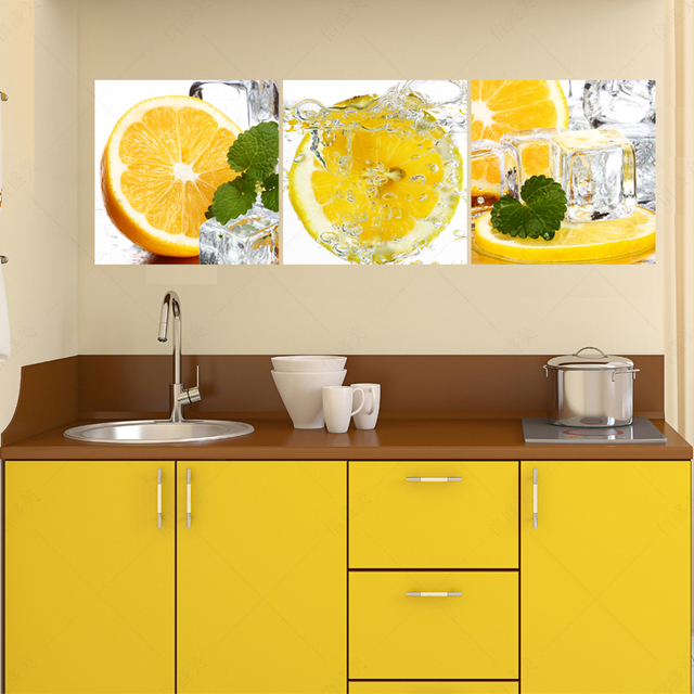 3 panel orange fruit canvas wall art painting cuadros pictures for ...