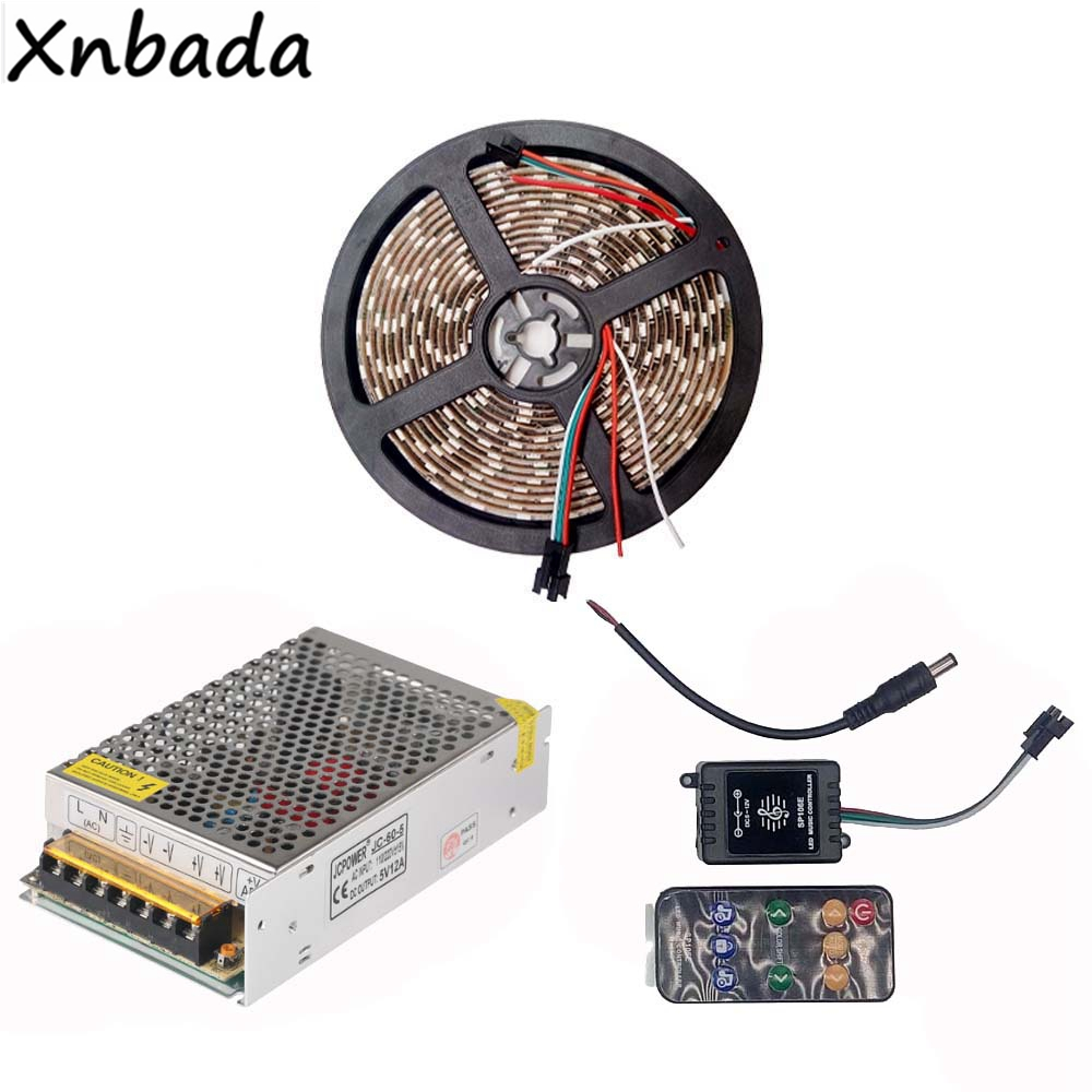 1m 2m 3m 4m 5m RGB Led Strip Light WS2812B WS2812 IC With 9Keys Music Led Controller DC5V Power Supply Adapter Kit 1m 2m 5m 30cm 4 pin rgb led connector extension cable cord wire with 4pin connector for rgb led strip light free shipping