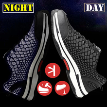 Sneakers Male Breathable Work Shoes Fashion Women Shoes Lace Up Wear-resistant Night Reflective Safety Shoes 35-46