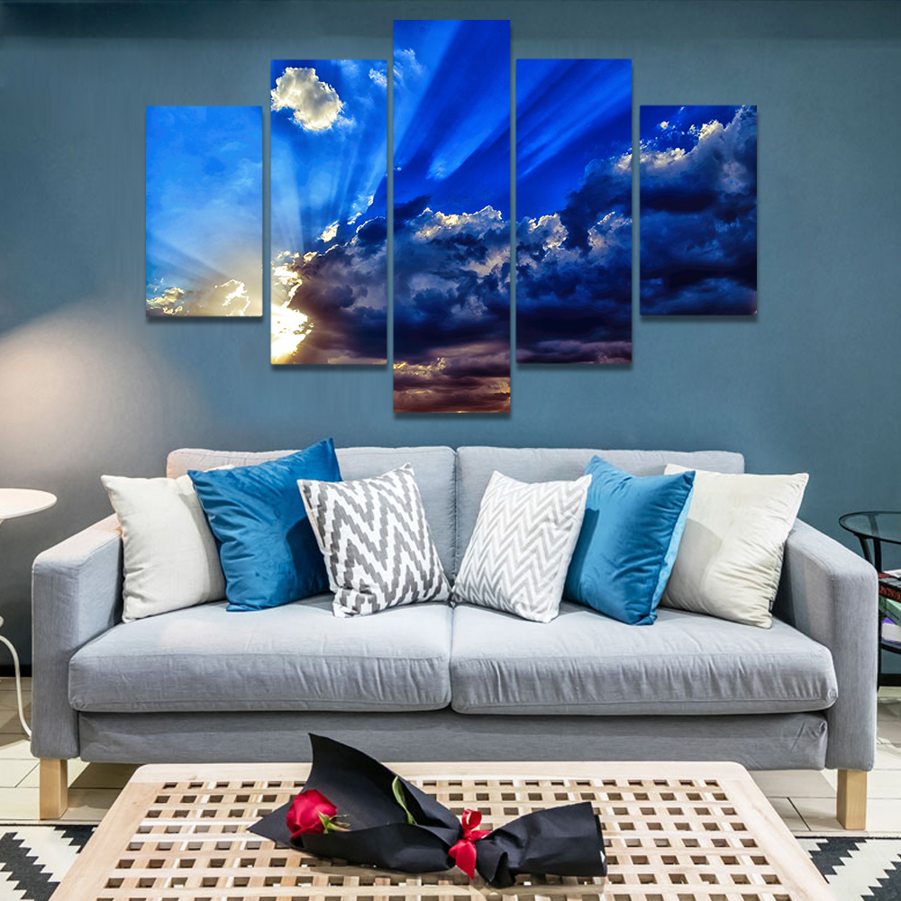 Unframed Canvas Art Painting Blue Sky And White Clouds Sunlight Rays Prints Wall Pictures For Living Room Wall Art Decoration