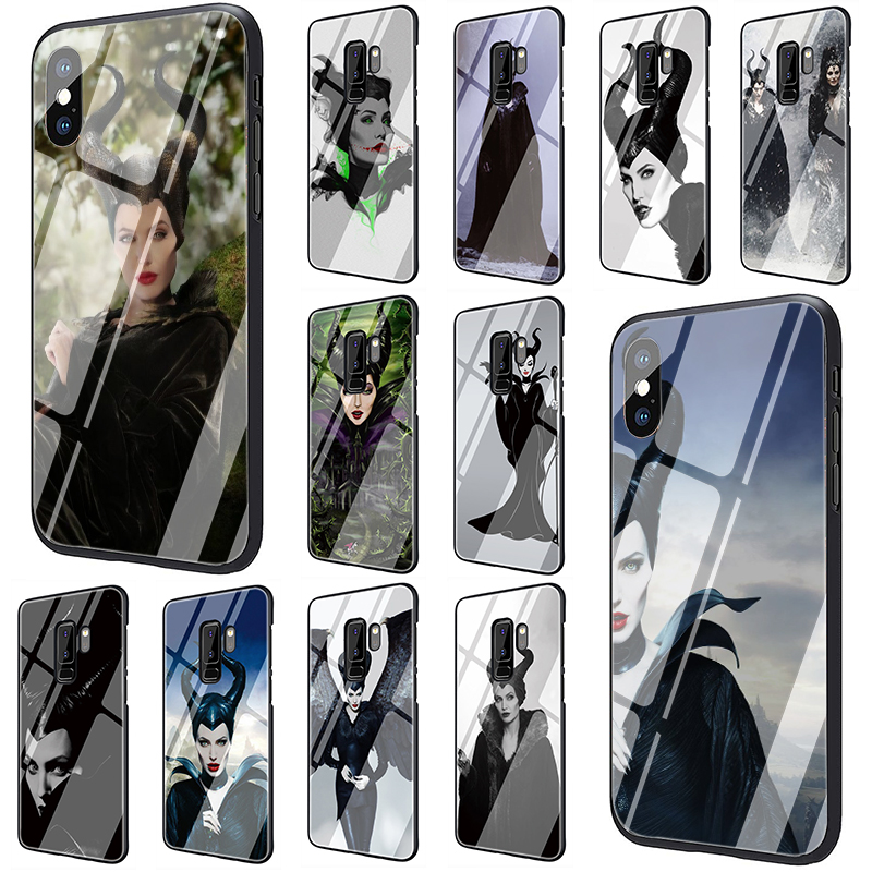Maleficent Tempered Glass phone <font><b>case</b></font> for <font><b>Samsung</b></font> Galaxy S7 Edge S8 S9 S10 Plus Note 8 9 A10 A20 A30 A40 <font><b>A50</b></font> A60 A70 image