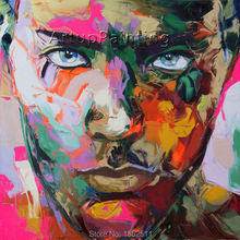 Palette knife painting portrait Face Oil Impasto figure on canvas Hand painted Francoise Nielly 15-34