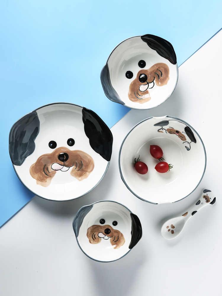 Conjunto de louça para cachorro, conjunto de louças para cães fofos, placa de jantar para crianças, tigela de cerâmica, decorativa, desenhos animados, animal