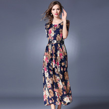 ARiby 2019 New Fashion Summer Womens Dress Lace Vintage Print O-Neck Short Sleeves Sashes Ankle-Length A-Line Maxi dress