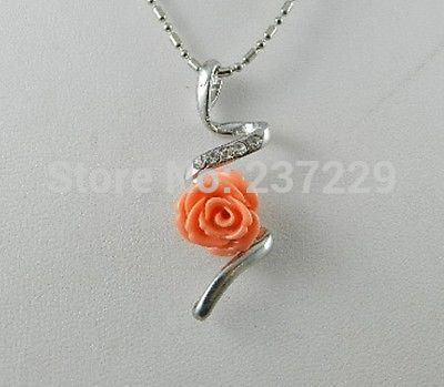 Free shipping new pink roses coral pendants necklace 17 in free shipping new pink roses coral pendants necklace 17 mozeypictures Image collections