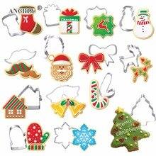 Рождественская форма для печенья из нержавеющей стали, форма для конфет, печенья, инструменты для приготовления пищи, Рождественская тематика, металлические формочки, форма для снежинок