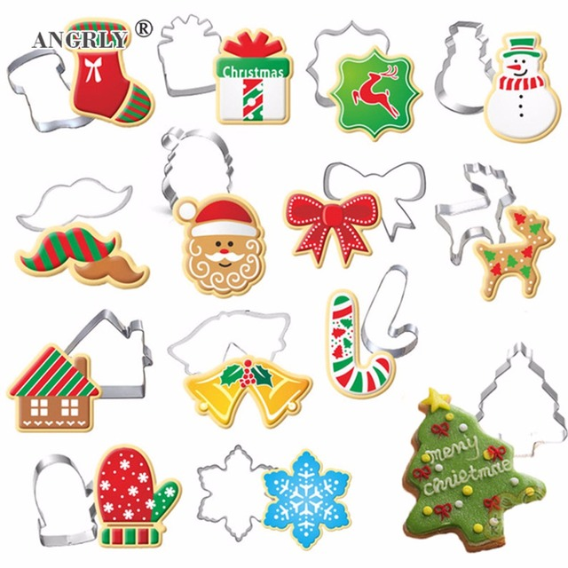 Christmas Cookie Cutter Stainless Steel Cut Candy Biscuit Mold Cooking Tools Christmas Theme Metal Cutters Mould Snowflake Snowm