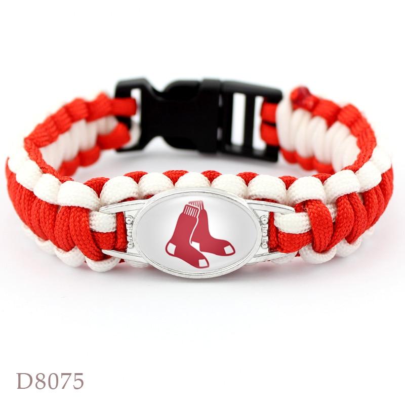 2 Style Boston Red Sox Baseball Team Bracelet Sport Team Umbrella Braided Bracelet Fans Gift Men Women Jewelry 10 PCS