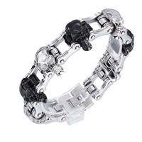 High Quality Punk Harley Jewelry Boys Mens Chain Skull Black Silver Tone Biker Motorcycle Link 316L