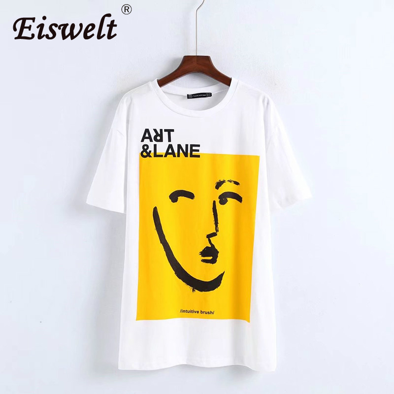 EISWELT 2018 Women Letter Cartoon Floral Printed T-shirt Oversize Casual Tees High Quality Summer Character White Basic Tops