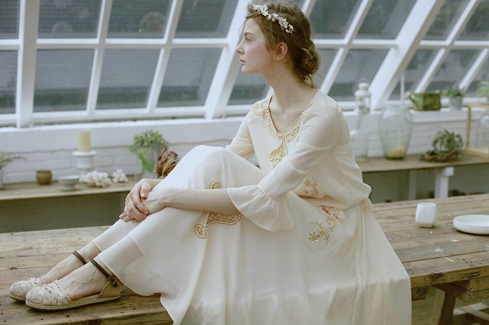 LYNETTE 'S CHINOISERIE Handgemaakte kralen schijf bloemen kwaliteit beige uitbreiding onderkant spaghetti band volledige jurk - 2