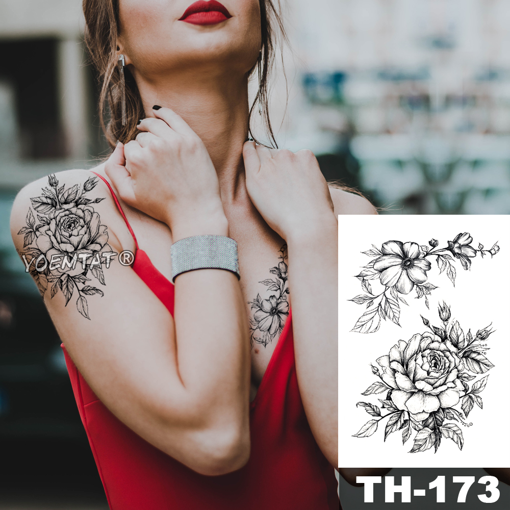 Waterproof Temporary Tattoo Sticker Sketch line peony pattern tatto Water Transfer Rose body art fake arm tatoo For Women 1