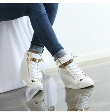 2018 Spring Autumn Style wedges sneakers women high top PU leather High heel casual shoes women sneakers black white 10