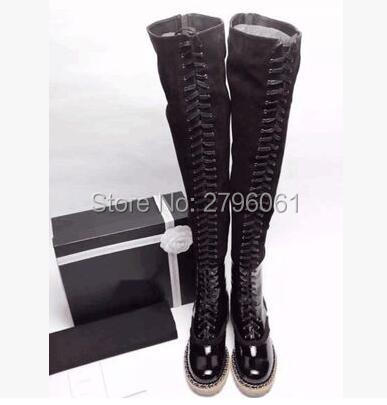 Sexy Thigh High Flats Women Motorcycle Boots Lace Up Over The Knee Long Celebrity Woman Boots Shoes Leather Winter Autumn Shoes 2017 sexy thick bottom women s over the knee snow boots leather fashion ladies winter flats shoes woman thigh high long boots
