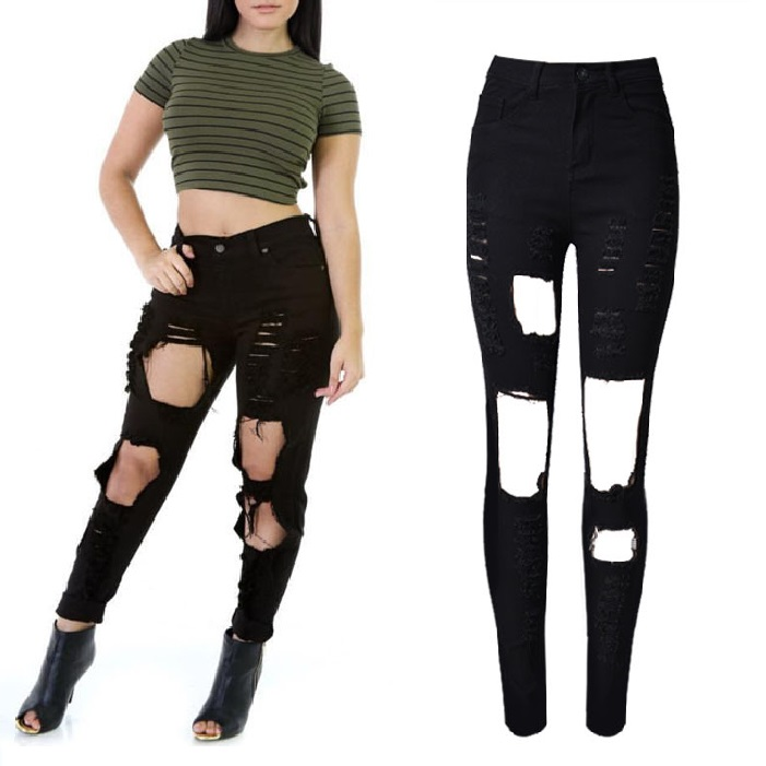 New Fashion Black Ripped Jeans Woman High Waist Jeans Femme Noir Jean Taille Haute Denim Hole Pants Stretch Pantalones Mujer new hot jeans woman high waist jean
