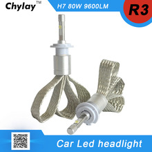 2pcs R3 9600lm Car Headlight H7 LED H4 H1 H3 H11 9005 9006 6000K White Auto Front Bulb Automobile Headlamp Conversion Kit 4800lm