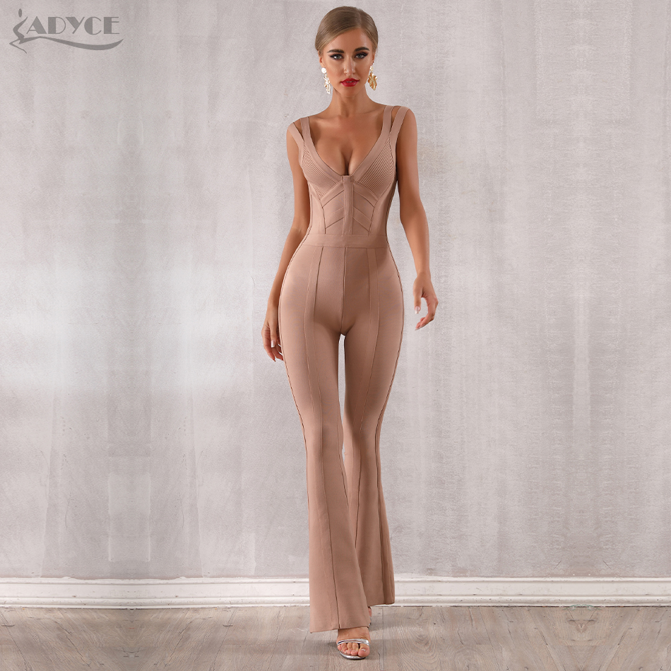 ADYCE 2020 New Summer Women Bandage Jumpsuit Romper Sexy V Neck Backless Sleeveless Long Jumpsuit Celebrity Evening Party Romper