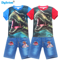 Children Clothing Summer Casual Boys Short Sleeve Dinossauro Jurassic T Shirt Pants Suits Cotton Girls Clothes