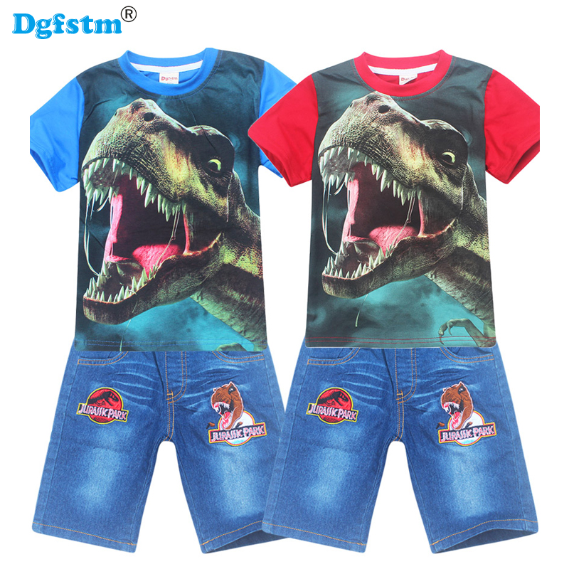 Children clothing summer casual boys short sleeve dinossauro Jurassic t-shirt+pants suits cotton girls clothes sets