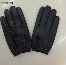 Men's leather gloves thin section sheepskin short leather gloves winter touch screen warm driving glove mittens for man(China)