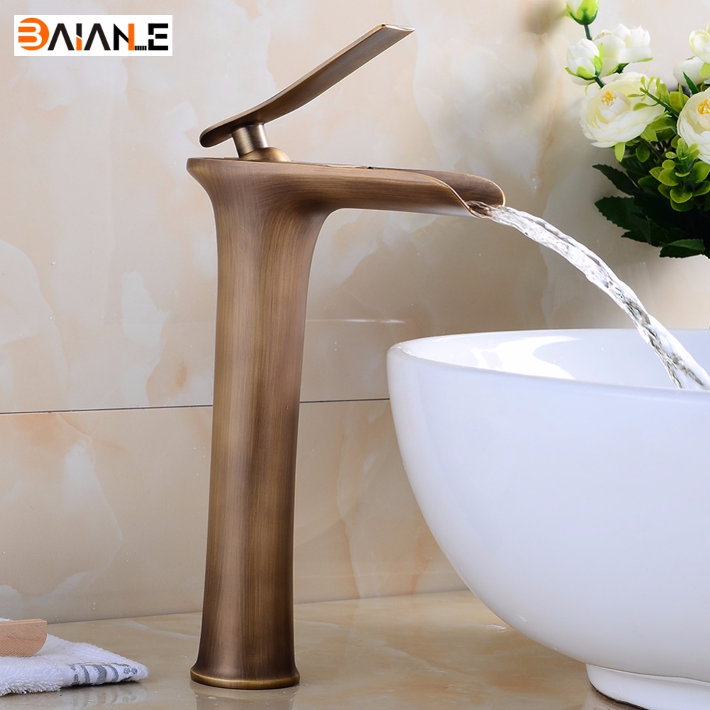 Lavatory Basin Faucets Waterfall Spout Single Handle Bathroom Sink Vessel Faucet Mixer Tap Tall Body Solid Brass Chrome Finished