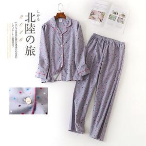 Image 2 - Women Autumn&winter Pure Cotton Pajama Suit Long Sleeve Lovely Casual Plaid Korean Loose Cartoon Home Suit Plus Size Pajamas Set