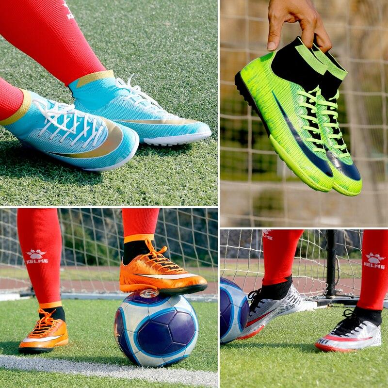 b7b9c063d Turf Indoor High Top Adult Rubber sole Soccer shoes men boy futzalki  centipede children boots for football Shoe size 28-44 109.6 ₪