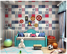 цены beibehang Personality boy children's room papel de parede 3d wallpaper British style stars vertical stripes wallpaper ab version