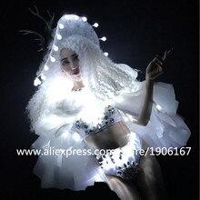 2018 новейшие белый свет Sexy Lady рождественское платье DS Костюмы подсветкой производительность Косплэй Маскарад LED одежда