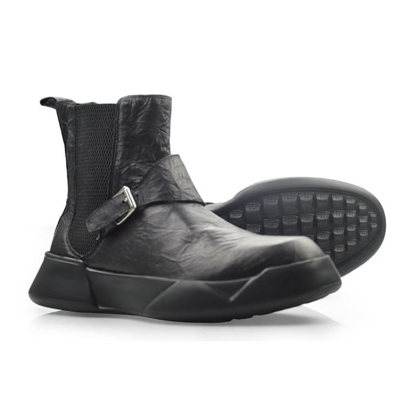 Britannique rétro 100% cuir véritable Chelsea bottes hommes automne hiver décontracté sans lacet bottines noir haut plate forme chaussures 38 44 - 6