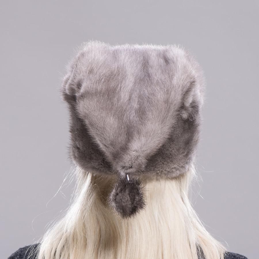 FXFURS Рождественская шапка из меха норки, высококачественные меховые шапки с одним норковым шариком, женские зимние теплые защитные ушные ша... - 4