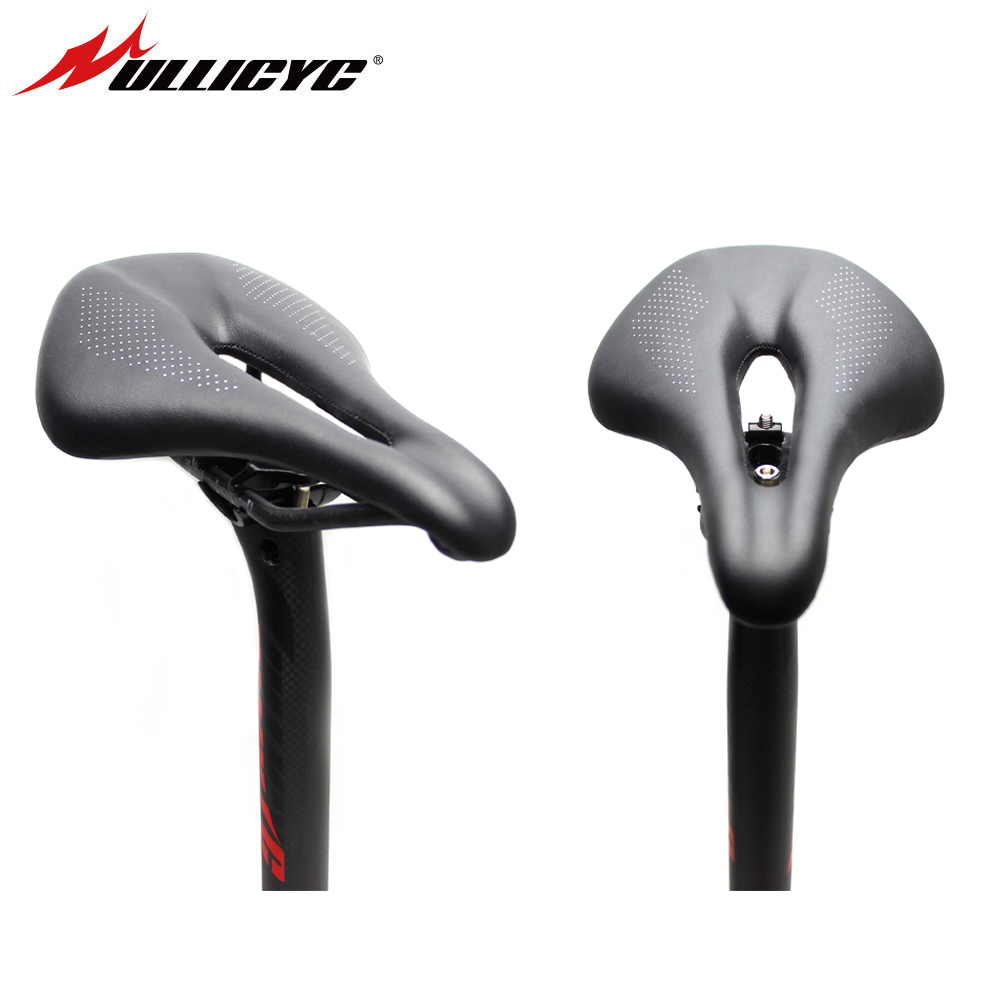 ULLICYC Carbon Bicycle Saddle MTB Mountain Bike Seat Cycling Leather Saddle Hollow Seat Cushion Road Bike