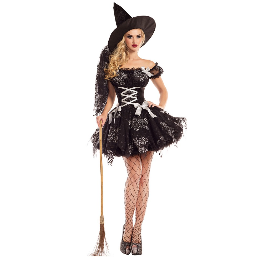 UTMEON New Black Lace Dress Halloween Women Black Sleeping Beauty Witch Queen Costumes Carnival Party Cosplay Fancy Dress