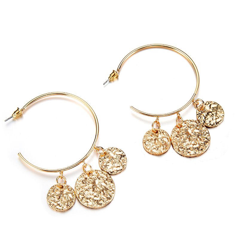 Tocona New Arrival Punk Big Round Shape Design Geometric Pendant Earrings For Women Female Gold Color Jewelry Accessories 3537 4