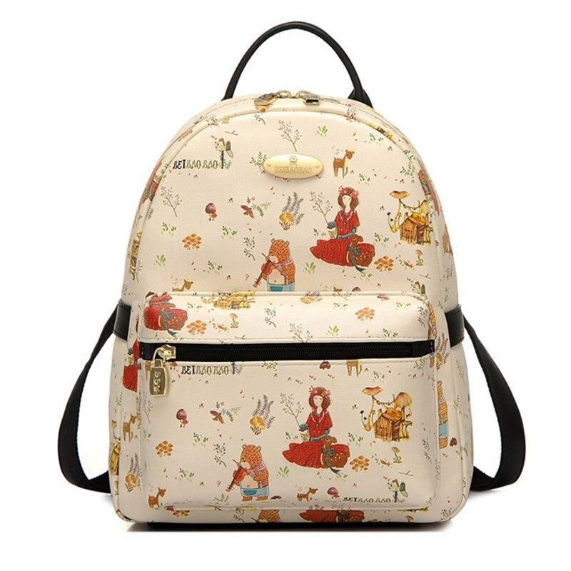Mori Forest Princess Printing Girl Backpack PU School Bag Lolita Travel Backpack Waterproof Bag Bear Deer Mushroom Flower Bird