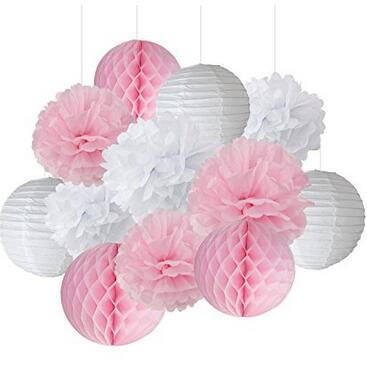 12pcs White Pink Pom Pom Flower Tissue Paper Pompom Balls Paper