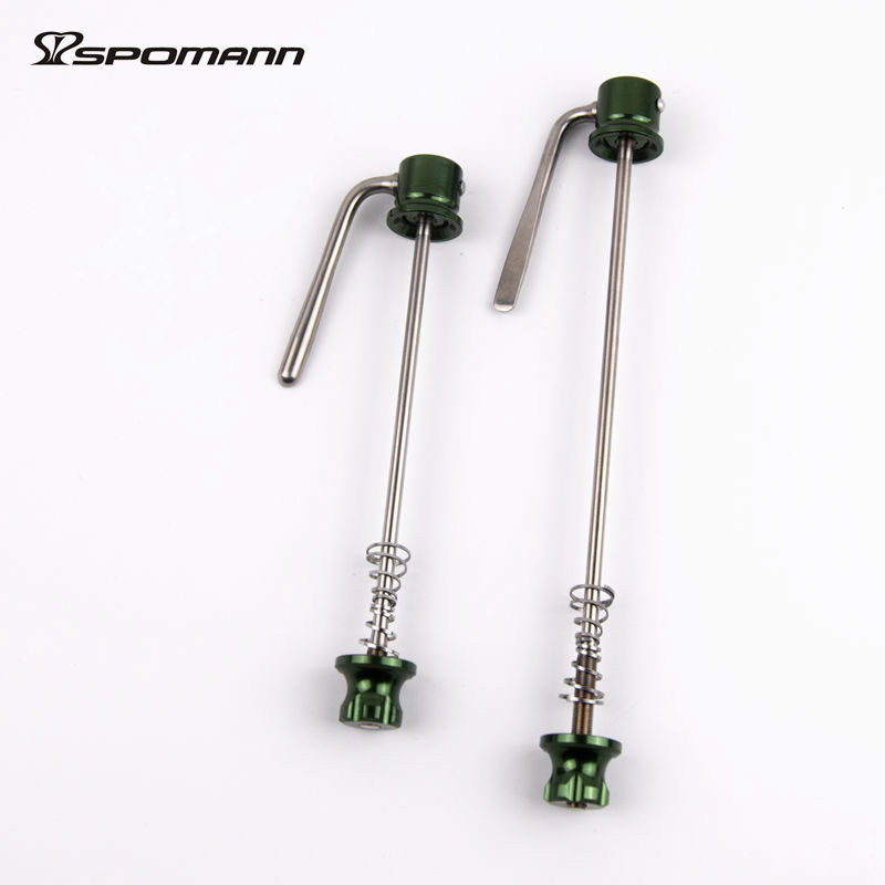 spomann 1 pair ultra-light titanium alloy quick release skewers mountain bike/ road bicycle wheels QR front 105 rear 145-150mm gub 116 titanium axle safety quick release mountain bike bicycle use al6061 t6 tc4 light weight quick dismantling mtb