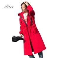 Female Medium Long Windbreaker 2018 New Spring Autumn Long Sleeved Hooded Plus Size Loose Vintage Harajuku Trench Coats Casacas